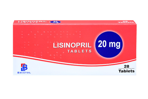 Lisinopril 20mg, pack of 28 tablets