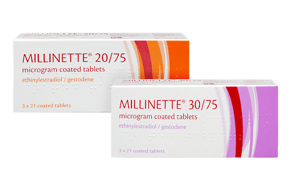 pack of millinette 20/75 and millinette 30/75